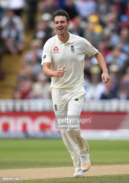 Toby RolandJones of England celebrates dismissing Shane Dowrich of the West Indies during day three of the 1st Investec Test between England and the...