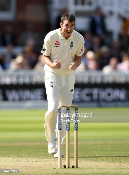 Toby RolandJones of England celebrates dismissing Shane Dowrich of the West Indies during day three of the 3rd Investec Test match between England...