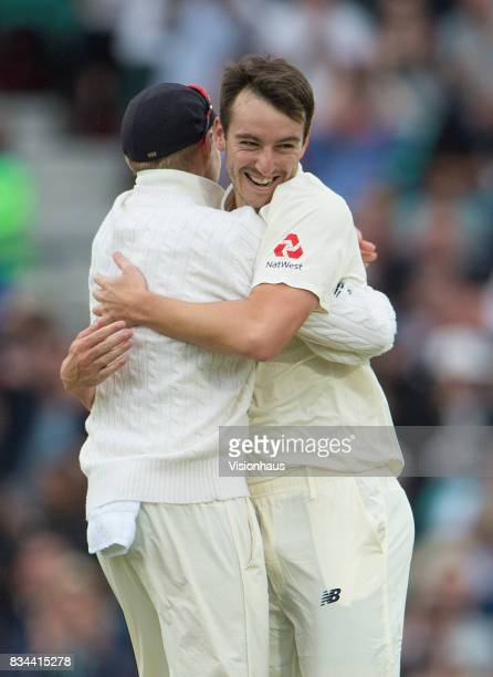 Toby RolandJones of England celebrates taking the wicket of Dean Elgar during day two of the 3rd Investec test between England and South Africa at...