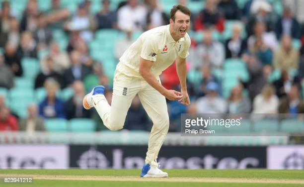 Toby RolandJones of England reacts during the second day of the 3rd Investec Test match between England and South Africa at the Kia Oval on July 28...