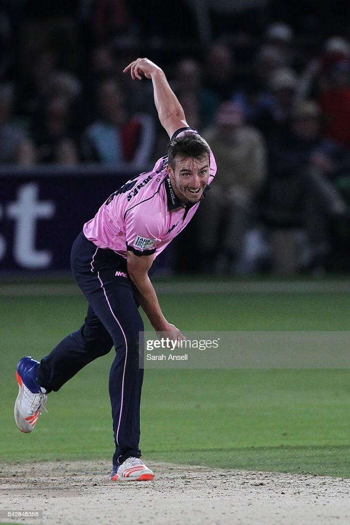 Toby Roland-Jones of Middlesex bowls during the Natwest T20 Blast match between Kent and Middlesex at The Spitfire Ground on June 24, 2016 in Canterbury, England.
