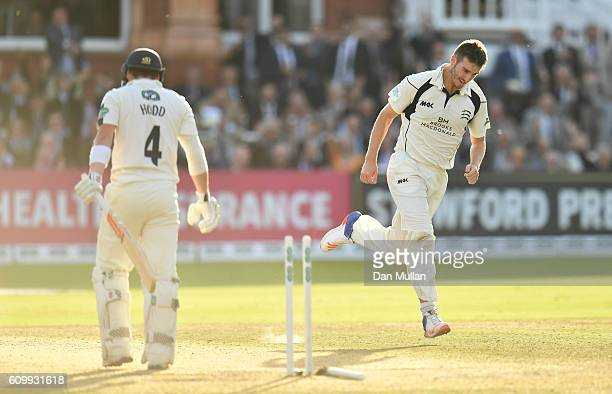 Toby RolandJones of Middlesex celebrates bowling Andrew Hodd of Yorkshire during day four of the Specsavers County Championship match between...