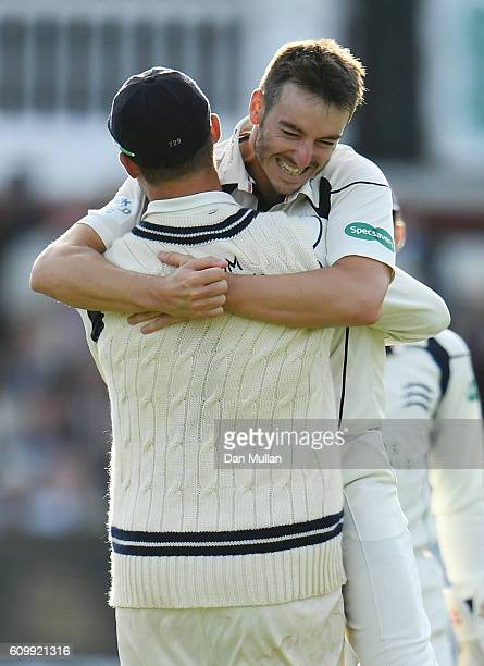 Toby RolandJones of Middlesex celebrates taking the wicket of Andrew Gale of Yorkshire during day four of the Specsavers County Championship match...