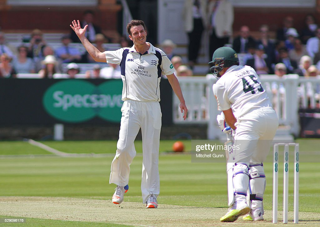 Toby Roland-Jones of Middlesex reacts after <a gi-track='captionPersonalityLinkClicked' href=/galleries/search?phrase=Michael+Lumb+-+Cricketer&family=editorial&specificpeople=6946049 ng-click='$event.stopPropagation()'>Michael Lumb</a> of Nottinghamshire nicks the ball short of the wicketkeeper during the Specsavers County Championship match between Middlesex and Nottinghamshire at Lords Cricket Ground, on May 08, 2016 in London, England.