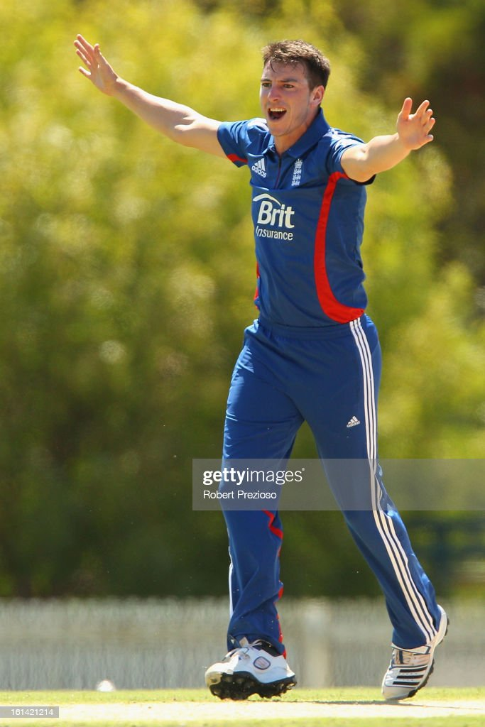 Toby Roland-Jones of the Lions appeals unsuccessfully during the International Tour match between the Victoria Bushrangers and England Lions at Junction Oval on February 11, 2013 in Melbourne, Australia.