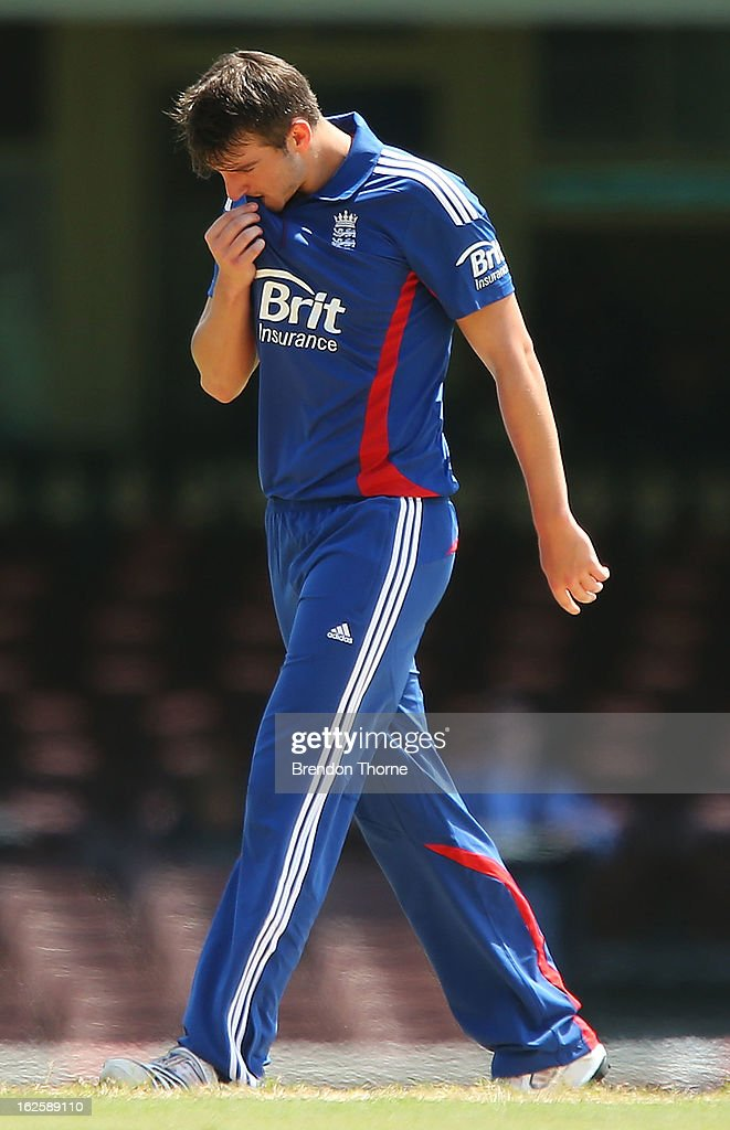 Toby Roland-Jones of the Lions shows signs of dejection after conceding a boundry during the International Tour match between Australia 'A' and the England Lions at Sydney Cricket Ground on February 25, 2013 in Sydney, Australia.