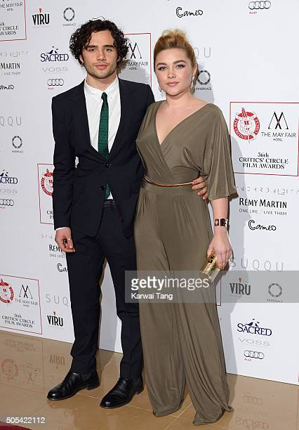 Toby Sebastian and Florence Pugh attend The London Critics' Circle Film Awards at The Mayfair Hotel on January 17 2016 in London England