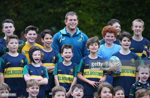 Toby Smith of the Wallabies poses with fans during an Australian Wallabies training session at the Melbourne Rugby Union Football Club on June 5 2017...