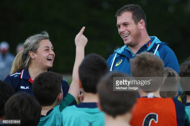Toby Smith of the Wallabies reacts to fans during an Australian Wallabies training session at the Melbourne Rugby Union Football Club on June 5 2017...