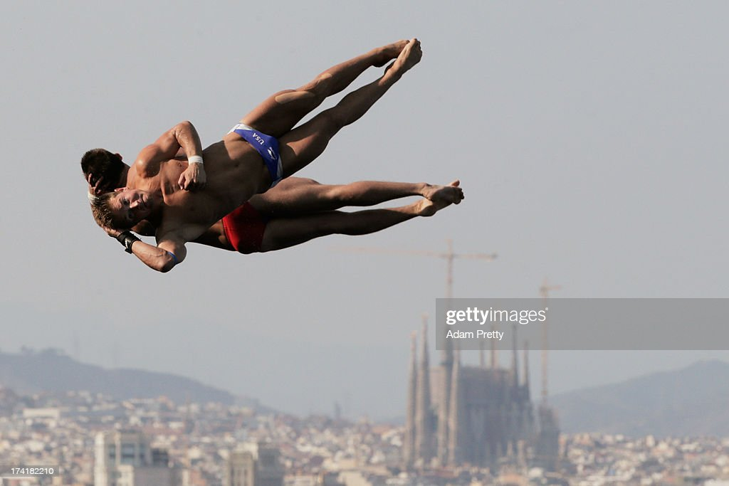 Toby Stanley and David Bonuchi of USA compete in the Men's 10m Platform Synchronised Diving final on day two of the 15th FINA World Championships at Piscina Municipal de Montjuic on July 21, 2013 in Barcelona, Spain.