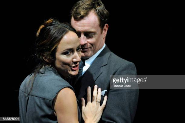 Toby Stephens as Terje Larsen and Lydia Leonard as Mona Juul in JTRogers's Oslo directed by Bartlett Sher at The National Theatre on September 8 2017...