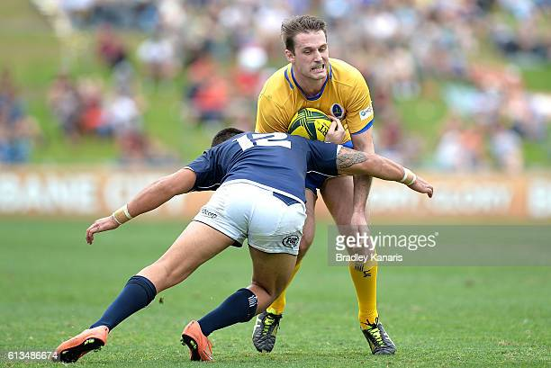 Toby White of Brisbane City takes on the defence during the round seven NRC match between Brisbane City and Queensland Country at Ballymore Stadium...