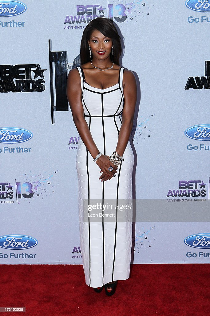 Toccara Jones arrives at the 2013 BET Awards Make A Wish Arrivals at Nokia Plaza L.A. LIVE on June 30, 2013 in Los Angeles, California.