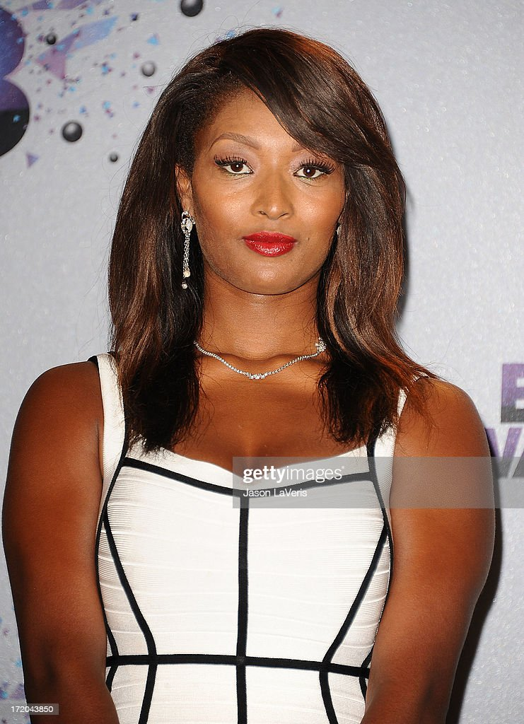 <a gi-track='captionPersonalityLinkClicked' href=/galleries/search?phrase=Toccara+Jones&family=editorial&specificpeople=2253497 ng-click='$event.stopPropagation()'>Toccara Jones</a> poses in the press room at the 2013 BET Awards at Nokia Theatre L.A. Live on June 30, 2013 in Los Angeles, California.