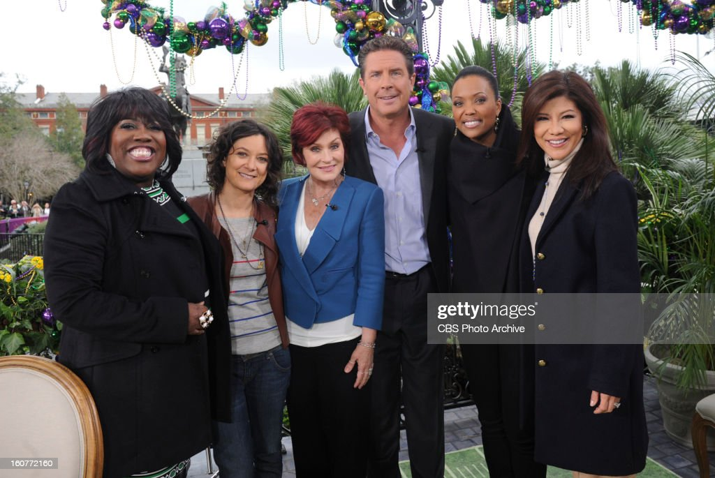 'NFL Today' host Dan Marino visits the ladies of THE TALK to preview this weekend's Super Bowl match-up between the Baltimore Ravens and the San Francisco 49ers, Wednesday, January 30, 2013. All week THE TALK broadcasts live from CBS Super Bowl Park at Jackson Square in the heart of the historic French Quarter in New Orleans, airing on the CBS Television Network. Sheryl Underwood, from left, Sara Gilbert, Sharon Osbourne, Dan Marino, Aisha Tyler and Julie Chen, shown.
