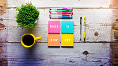 Today is your day, Retro desk with handwritten note on sticky notes
