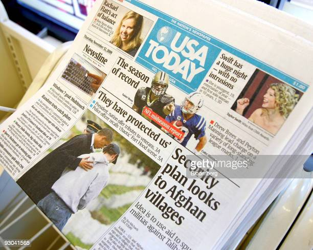 USA Today newspapers are displayed on a rack in a convenience store in Chicago Illinois US on Thursday Nov 12 2009 US newspaper circulation declines...