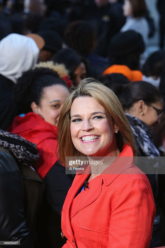 'Today Show' host <a gi-track='captionPersonalityLinkClicked' href=/galleries/search?phrase=Savannah+Guthrie&family=editorial&specificpeople=653313 ng-click='$event.stopPropagation()'>Savannah Guthrie</a> appears on the set when Janelle Monae performs on NBC's 'Today' at Rockefeller Plaza on April 9, 2014 in New York City.