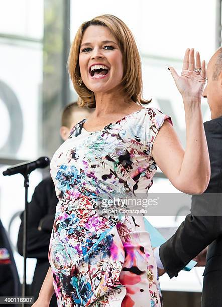 Today Show Host Savannah Guthrie hosts NBC's 'Today' during Dolly Parton performance at Rockefeller Plaza on May 13 2014 in New York City
