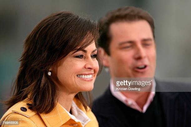 Today show hosts Lisa Wilkinson and Karl Stefanovic appears onair as part of the Today Show 25th birthday celebrations at Federation Square on June...