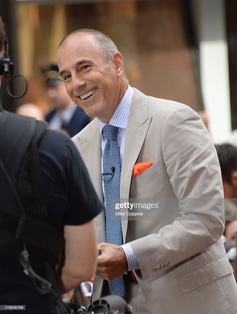 'Today' show news anchor <a gi-track='captionPersonalityLinkClicked' href=/galleries/search?phrase=Matt+Lauer&family=editorial&specificpeople=206146 ng-click='$event.stopPropagation()'>Matt Lauer</a> speaks to the crowd on NBC's 'Today' at the NBC's TODAY Show on July 12, 2013 in New York, New York.