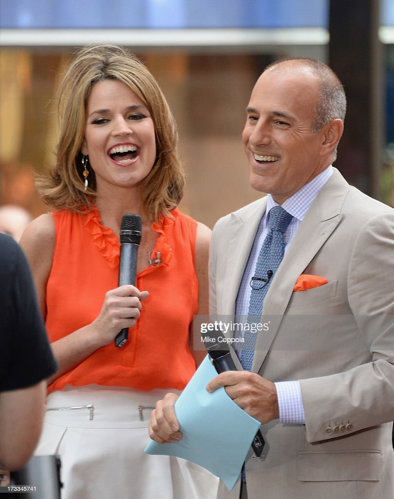 'Today' show news anchors <a gi-track='captionPersonalityLinkClicked' href=/galleries/search?phrase=Savannah+Guthrie&family=editorial&specificpeople=653313 ng-click='$event.stopPropagation()'>Savannah Guthrie</a> (L) and <a gi-track='captionPersonalityLinkClicked' href=/galleries/search?phrase=Matt+Lauer&family=editorial&specificpeople=206146 ng-click='$event.stopPropagation()'>Matt Lauer</a> speak to the crowd on NBC's 'Today' at the NBC's TODAY Show on July 12, 2013 in New York, New York.
