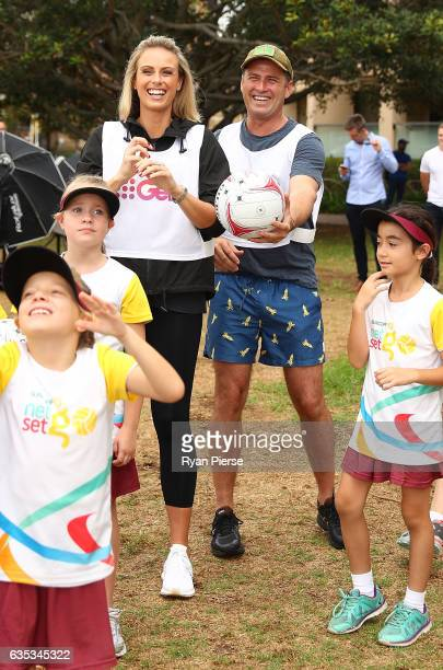 Today Show presenters Sylvia Jeffreys and Karl Stefanovic attend the Super Netball Captains Call on February 15 2017 in Sydney Australia