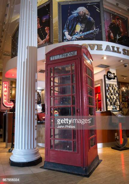 Today the famous red phone box from One Direction's 'Take Me Home' album cover was loaded into Hard Rock Cafe London's Rock Shop on April 13 2017 in...