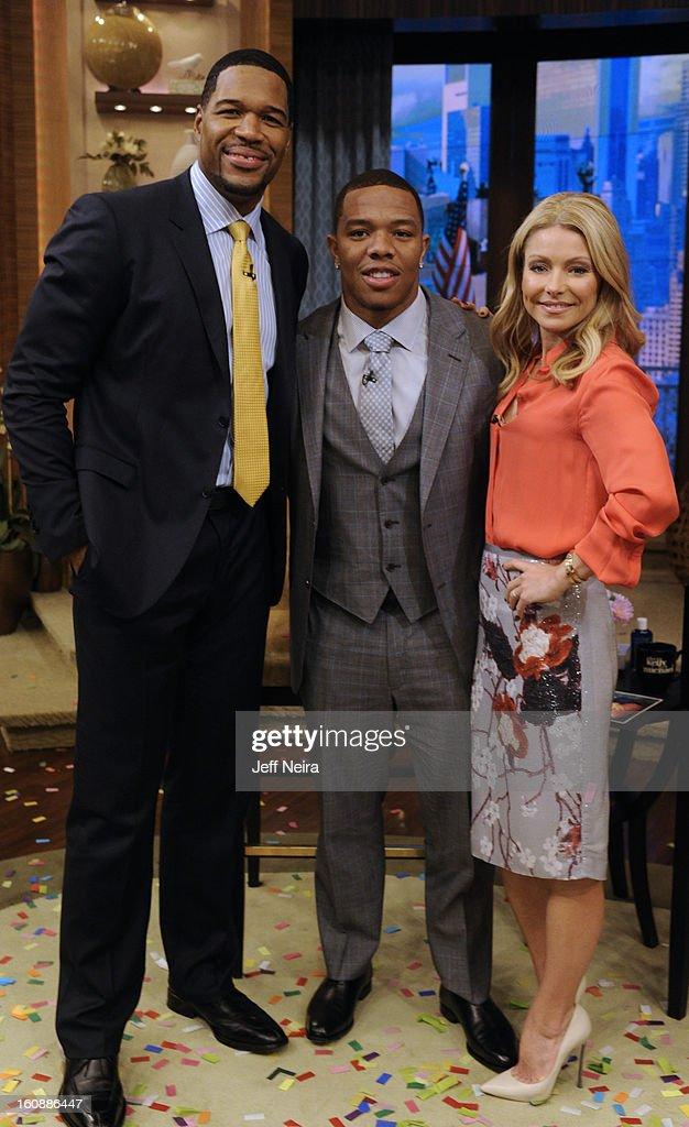 MICHAEL - 2/6/13 - Today the hosts welcomed RAY RICE, running back for the Super Bowl Champion Baltimore Ravens, on LIVE! with Kelly and Michael,' distributed by Disney-ABC Domestic Television. RIPA
