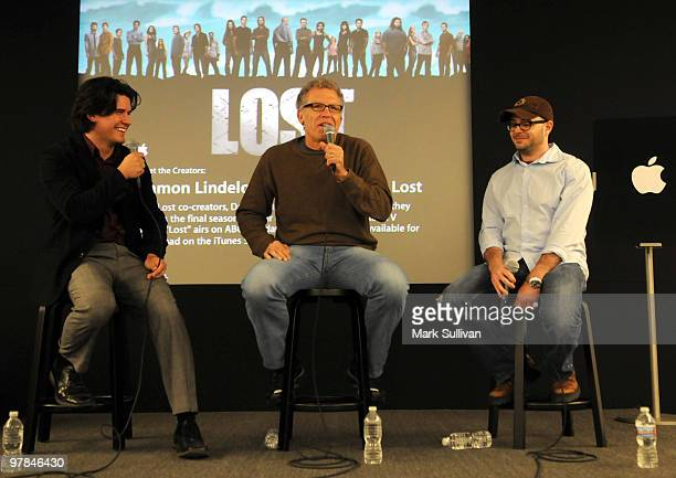 Today's Anthony Breznican cocreators Carlton Cuse and Damon Lindelof attend the Lost 'Meet the Creator' event at Apple Store Third Street Promenade...