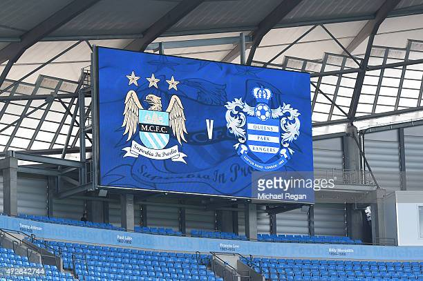 Today's fixture is displayed on the scoreboard prior to kickoff during the Barclays Premier League match between Manchester City and Queens Park...