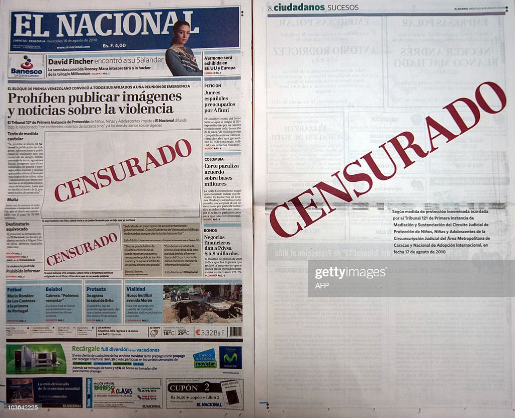 Today's issue of Venezuelan daily 'El Nacional' showing an empty space with the word 'Censured' in red on its frontpage and in another page inside in...
