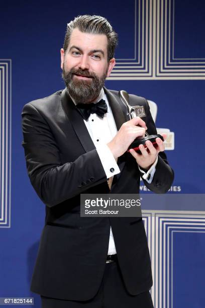 Todd Abbott poses with the Logie Award for Most Outstanding Comedy Program 'Please Like Me' during the 59th Annual Logie Awards at Crown Palladium on...