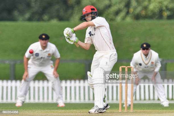 Todd Astle of Canterbury batting during the Plunket Shield match between Canterbury and Wellington on March 30 2017 in Christchurch New Zealand