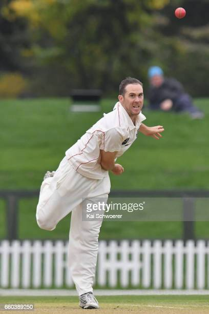 Todd Astle of Canterbury bowling during the Plunket Shield match between Canterbury and Wellington on March 30 2017 in Christchurch New Zealand