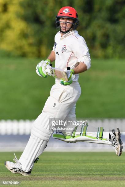 Todd Astle of Canterbury makes a run during the Plunket Shield match between Canterbury and Wellington on March 29 2017 in Christchurch New Zealand