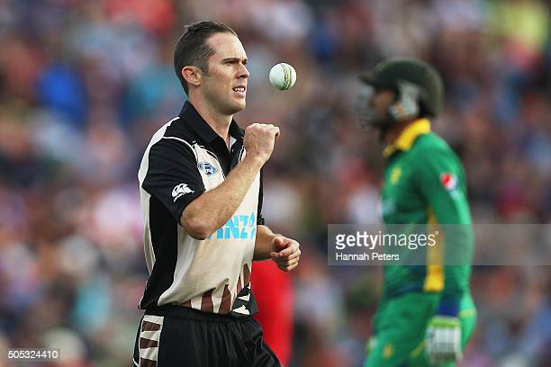 Todd Astle of the Black Caps prepares to bowl during the International Twenty20 match between New Zealand and Pakistan at Seddon Park on January 17...