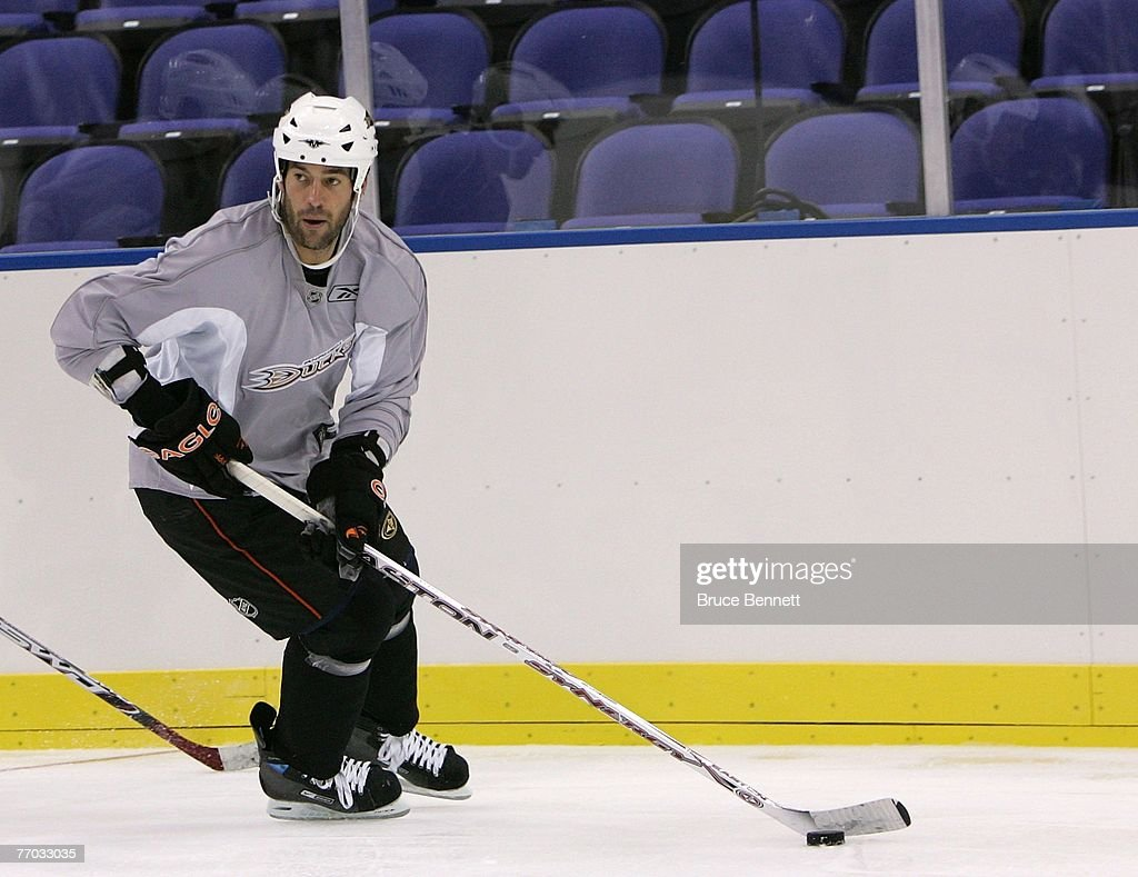 Todd Bertuzzi of the Anaheim Ducks skates wit the puck during practice on September 26, 2007 at the O2 arena in London, England.