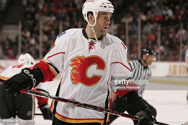 Todd Bertuzzi of the Calgary Flames skates on the ice against the Anaheim Ducks during the game on February 11 2009 at Honda Center in Anaheim...
