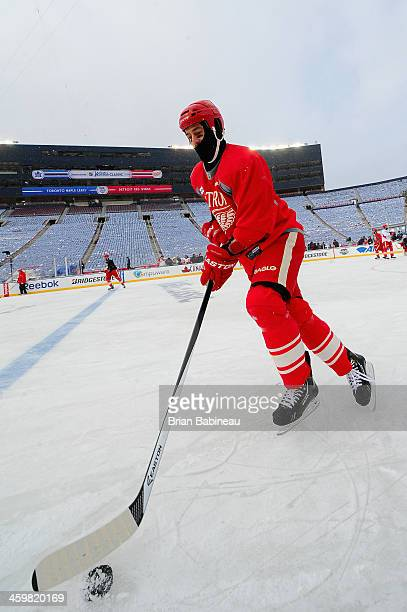 Todd Bertuzzi of the Detroit Red Wings controls the puck during the 2014 Bridgestone NHL Winter Classic team practice session on December 31 2013 at...