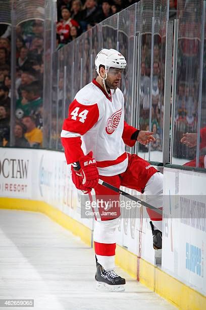 Todd Bertuzzi of the Detroit Red Wings goes to the penalty box during a game against the Dallas Stars at the American Airlines Center on January 4...