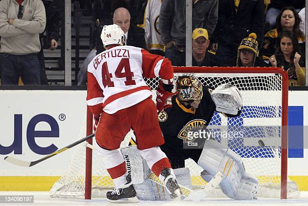 Todd Bertuzzi of the Detroit Red Wings shoots the game winning goal past Tuukka Rask of the Boston Bruins during the overtime shootout on November 25...