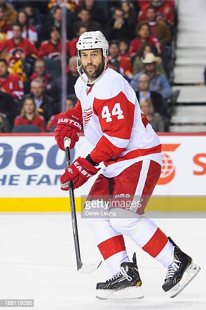 Todd Bertuzzi of the Detroit Red Wings skates against the Calgary Flames during an NHL game at Scotiabank Saddledome on November 1 2013 in Calgary...