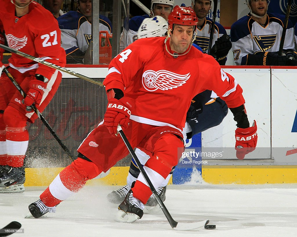 Todd Bertuzzi #44 of the Detroit Red Wings skates with the puck during a NHL game against the St Louis Blues at Joe Louis Arena on February 1, 2013 in Detroit, Michigan.
