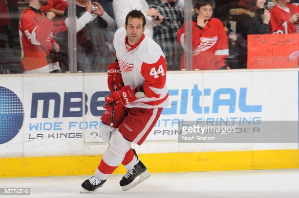 Todd Bertuzzi of the Detroit Red Wings warms up prior to the game against the Los Angeles Kings on January 7 2010 at Staples Center in Los Angeles...