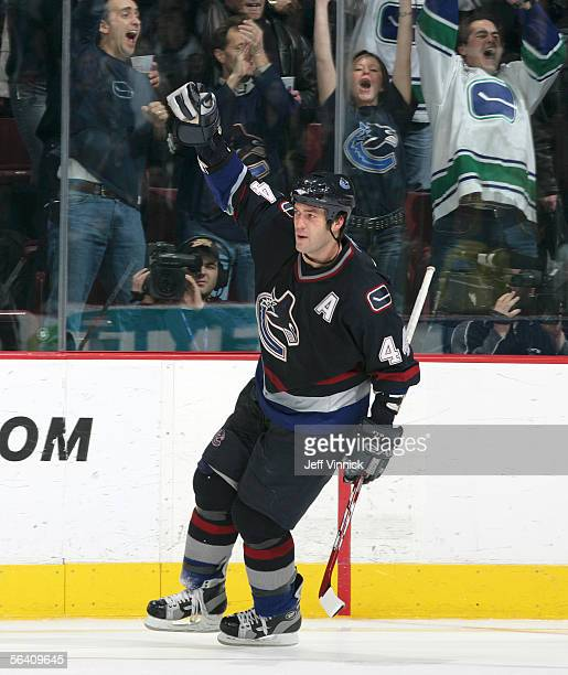 Todd Bertuzzi of the Vancouver Canucks celebrates after scoring in the shootout against the Ottawa Senators during their game at General Motors Place...