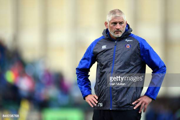 Todd Blackadder Baths Director of Rugby looks on prior to the Aviva Premiership match between Bath Rugby and Saracens at Recreation Ground on...