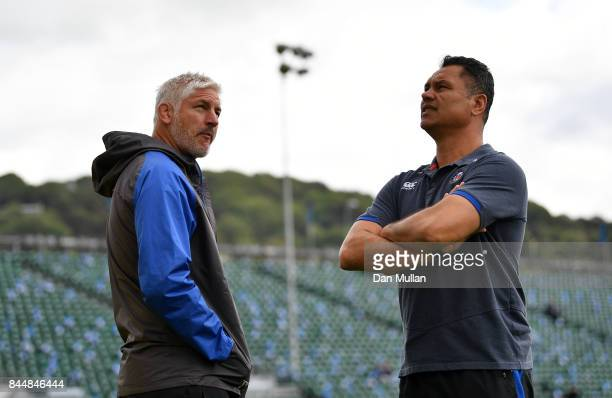 Todd Blackadder Baths Director of Rugby talks with Tabai Matson Head Coach of Bath prior to the Aviva Premiership match between Bath Rugby and...