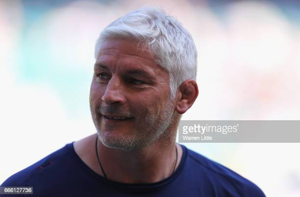Todd Blackadder coach of Bath looks on ahead of the Aviva Premiership match between Bath Rugby and Leicester Tigers at Twickenham Stadium on April 8...