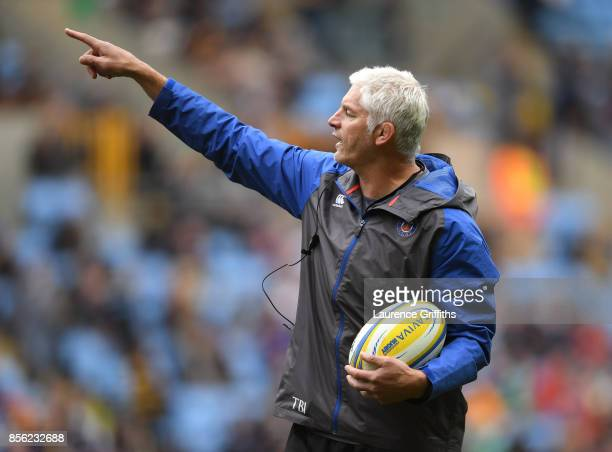 Todd Blackadder Director of Rugby of Bath looks on prior to the Aviva Premiership match between Wasps and Bath Rugby at The Ricoh Arena on October 1...